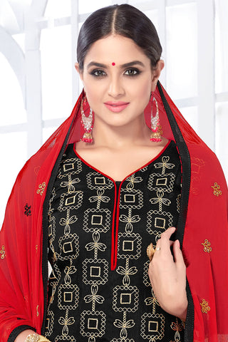 Designer Straight Cut:atisundar Attractive Black Designer Embroidered Party Wear Straight Cut - 12746