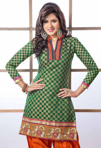 Embroidered Designer Patiala Suits In Cotton:atisundar stunning   in Dark Green - 5704 - atisundar - 4