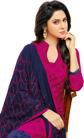 Designer Printed Straight Cut Suit With Embroidered Dupatta:atisundar stunning Pink print with embroidered - 14441