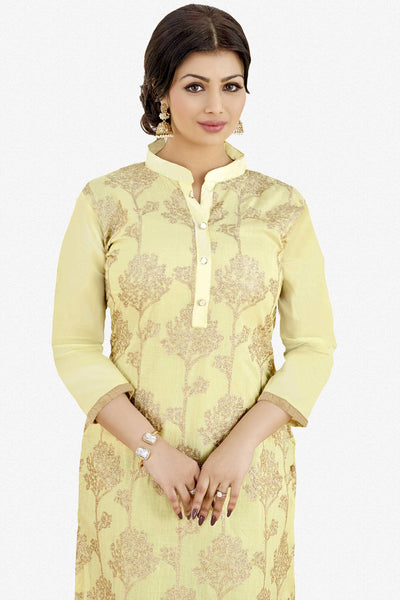 Designer Straight Cut:atisundar Awesome Light Yellow Designer Party Wear Embroidered Straight Cut Featuring Ayesha Takia - 12693 - click to zoom