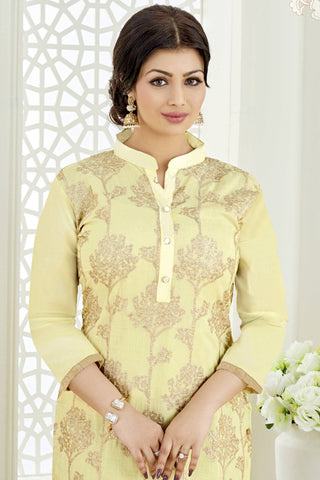 Designer Straight Cut:atisundar Awesome Light Yellow Designer Party Wear Embroidered Straight Cut Featuring Ayesha Takia - 12693