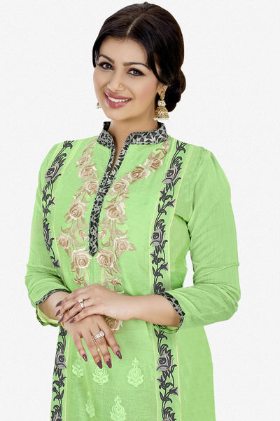 Designer Straight Cut:atisundar bewitching Light Green Designer Party Wear Embroidered Straight Cut Featuring Ayesha Takia - 12696 - click to zoom
