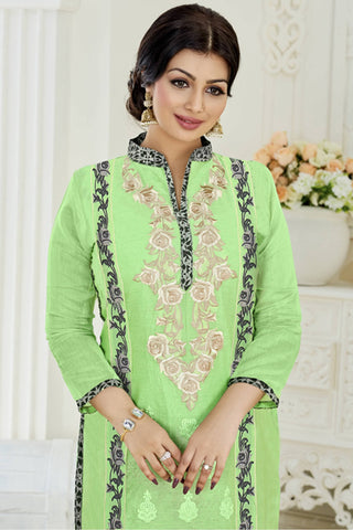 Designer Straight Cut:atisundar bewitching Light Green Designer Party Wear Embroidered Straight Cut Featuring Ayesha Takia - 12696