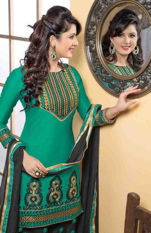 Embroidered Designer Patiala Suits In Cotton:atisundar angelic   in Bottle Green - 5708 - atisundar - 4