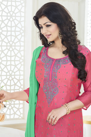 Designer Straight Cut:atisundar pretty Pink Designer Party Wear Embroidered Straight Cut Featuring Ayesha Takia - 12697