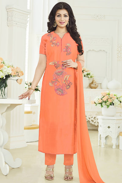 Designer Straight Cut:atisundar delicate Orange Designer Party Wear Embroidered Straight Cut Featuring Ayesha Takia - 12698 - click to zoom