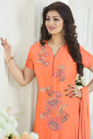 Designer Straight Cut:atisundar delicate Orange Designer Party Wear Embroidered Straight Cut Featuring Ayesha Takia - 12698