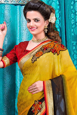 Designer Partywear Saree!:atisundar wonderful Designer Party Wear Sarees in Yellow And Black  - 7599 - atisundar - 3