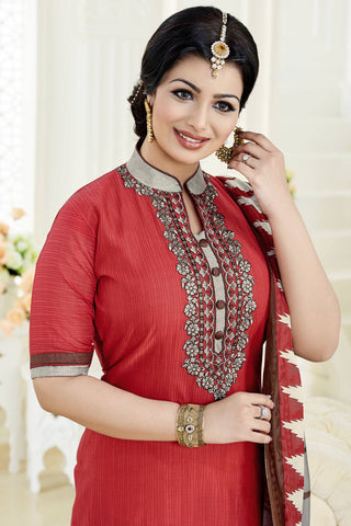 Designer Straight Cut:atisundar divine Red Designer Party Wear Embroidered Straight Cut Featuring Ayesha Takia - 12699
