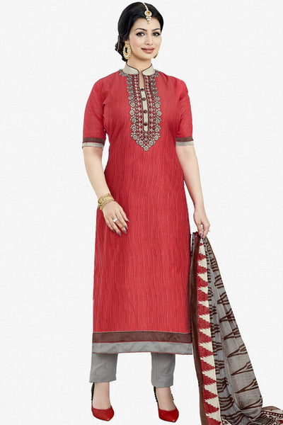 Designer Straight Cut:atisundar divine Red Designer Party Wear Embroidered Straight Cut Featuring Ayesha Takia - 12699 - click to zoom