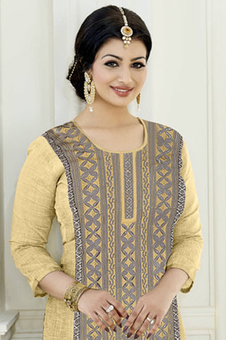 Designer Straight Cut:atisundar fair Light Brown Designer Party Wear Embroidered Straight Cut Featuring Ayesha Takia - 12700
