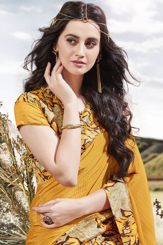 Designer Saree:atisundar angelic Designer Party Wear Saree in Yellow  - 13050