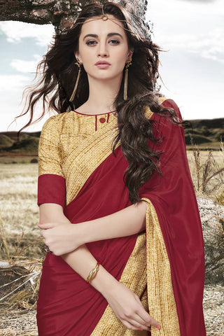 Designer Saree:atisundar Superb Designer Party Wear Saree in Maroon And Brown  - 13052