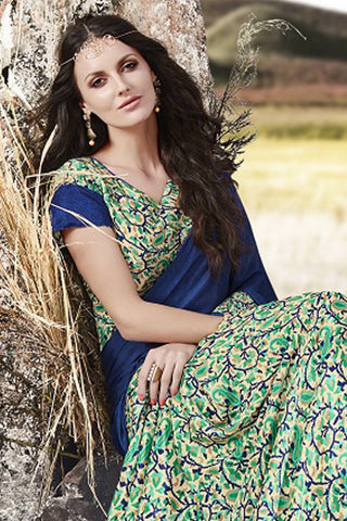 Designer Saree:atisundar pretty Designer Party Wear Saree in Blue And Green  - 13057
