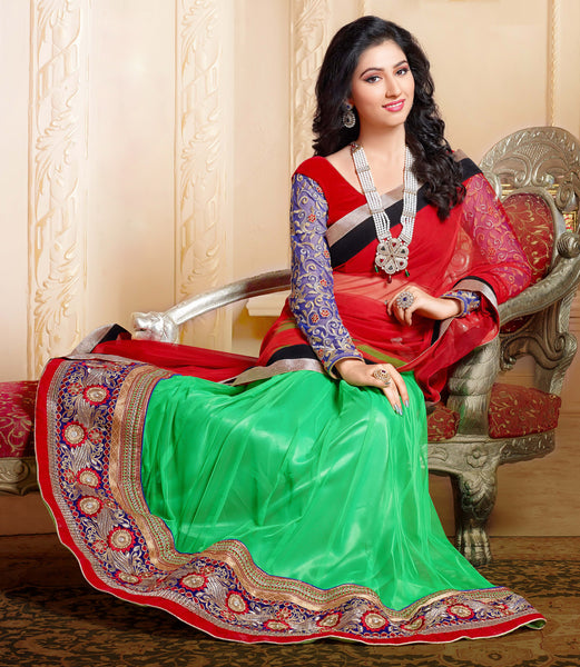 Disha Parmar Lehenga Collection:atisundar Beautiful Velvet  Lehenga in Red - 6833 - atisundar - 4 - click to zoom