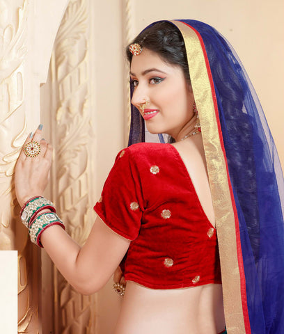 Disha Parmar Lehenga Collection:atisundar magnificent Velvet  Lehenga in Red - 6836 - atisundar - 4 - click to zoom