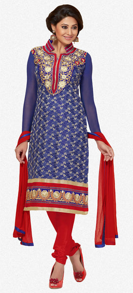 Designer Straighr Cut Suit:atisundar Beautiful Blue Designer Straight Cut  - 6682 - atisundar - 2 - click to zoom