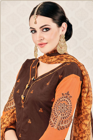 Designer Straight Cut:atisundar beauteous Brown Stylish Casual Wear Straight Cut - 12765