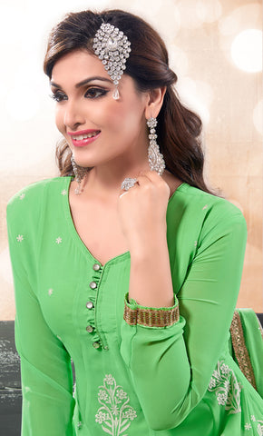 Designer Partywear Semistitched Anarkali:atisundar Great   in Green - 5179 - atisundar - 4