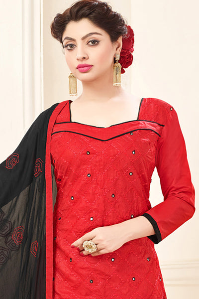 Cotton Top With mirror Work & Embroidered Dupatta :atisundar divine Red Embroidered Cotton Suits - 15317 - click to zoom