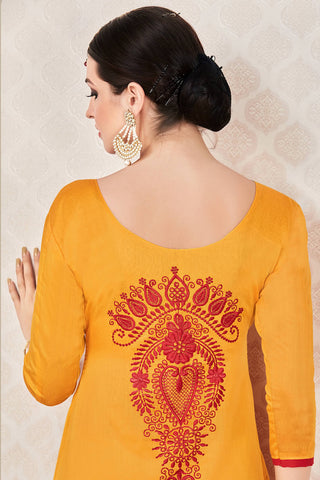 Designer Straight Cut:atisundar Awesome Yellow Stylish Casual Wear Straight Cut - 12769