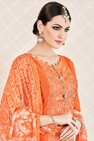 Designer Straight Cut:atisundar magnificent Orange Stylish Casual Wear Straight Cut - 12770