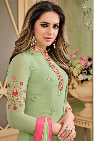 Designer Embroidered Heavy Suit With Embroidered Bottom:atisundar dazzling Green Designer Party Wear Straight Cut - 14751