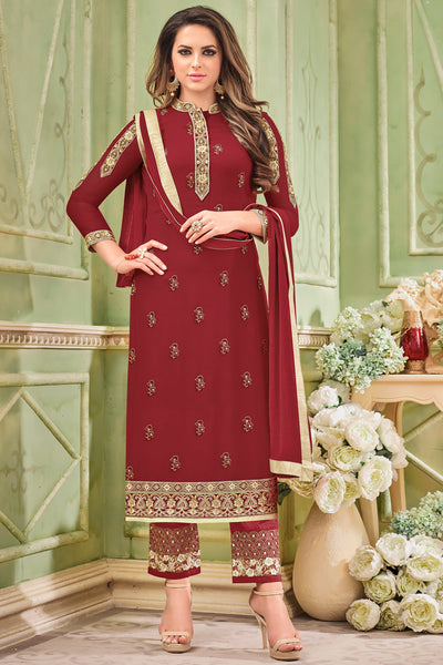 Designer Embroidered Heavy Suit With Embroidered Bottom:atisundar appealing Red Designer Party Wear Straight Cut - 14752 - click to zoom