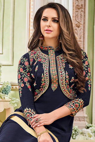 Designer Embroidered Heavy Suit With Embroidered Bottom:atisundar graceful Blue Designer Party Wear Straight Cut - 14753