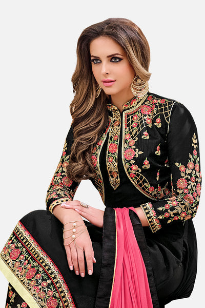Designer Embroidered Heavy Suit With Embroidered Bottom:atisundar classy Black Designer Party Wear Straight Cut - 14755 - click to zoom