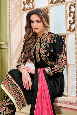Designer Embroidered Heavy Suit With Embroidered Bottom:atisundar classy Black Designer Party Wear Straight Cut - 14755