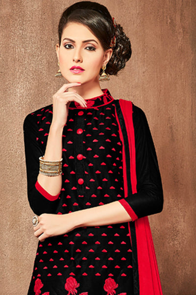 Designer Straight Cut Cotton Top With Embroidery:atisundar ravishing Black Designer Straight Cut  - 15212 - click to zoom