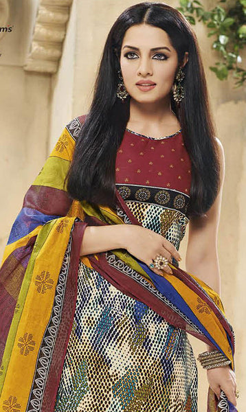 Siya Designer Printed Pure Cotton Suits FeaturingCelina Jaitly:atisundar graceful Multi Pure Cotton Designer Printed unstitched Suit - 6188 - atisundar - 3 - click to zoom