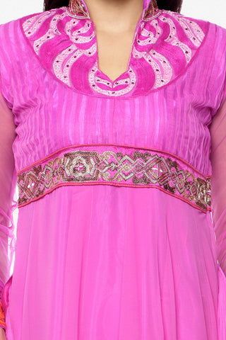 Heeba Party Wear Anarkali Featuring Aamna Sharif:atisundar ravishing   in Pink - 5109