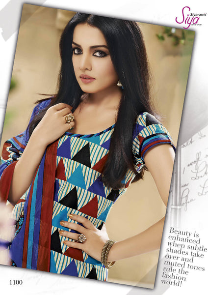Siya Designer Printed Pure Cotton Suits FeaturingCelina Jaitly:atisundar graceful Blue Pure Cotton Designer Printed unstitched Suit - 6195 - atisundar - 3 - click to zoom