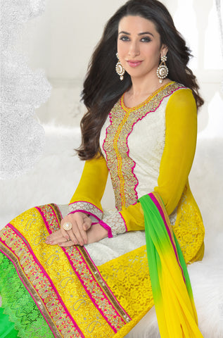 The Karishma Kapoor Collection:atisundar admirable Yellow And Off White Designer Straight Cut Embroidered Suits - 6605 - atisundar - 3