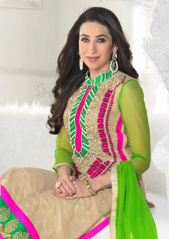 The Karishma Kapoor Collection:atisundar Beautiful Cream Designer Straight Cut Embroidered Suits - 6606 - atisundar - 3