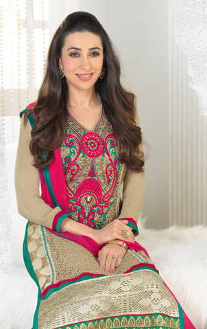 The Karishma Kapoor Collection:atisundar bewitching Beige Designer Straight Cut Embroidered Suits - 6608 - atisundar - 3