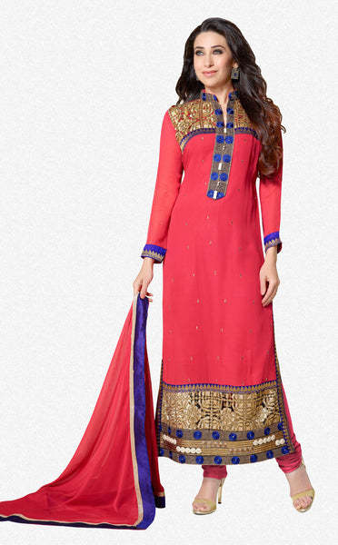 The Karishma Kapoor Collection:atisundar elegant Pink Designer Straight Cut Embroidered Suits - 6721 - atisundar - 1 - click to zoom