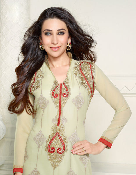 The Karishma Kapoor Collection:atisundar Attractive Cream Designer Straight Cut Embroidered Suits - 6725 - atisundar - 3 - click to zoom
