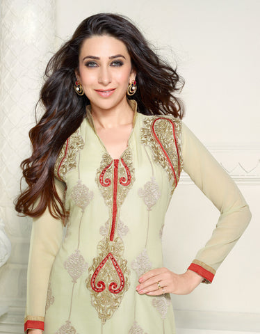 The Karishma Kapoor Collection:atisundar Attractive Cream Designer Straight Cut Embroidered Suits - 6725 - atisundar - 3