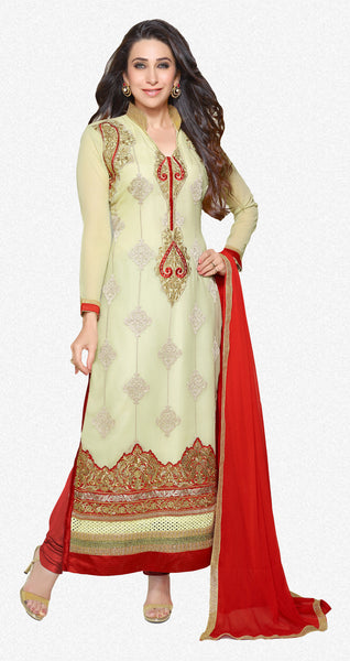 The Karishma Kapoor Collection:atisundar Attractive Cream Designer Straight Cut Embroidered Suits - 6725 - atisundar - 1 - click to zoom