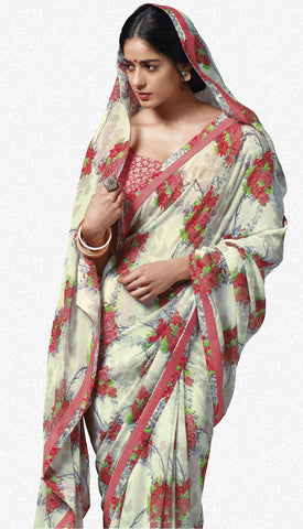 Jasmeen: Designer Printed Sarees:atisundar   magnificent Designer Printed Saree in Off White  - 5130 - atisundar - 1 - click to zoom
