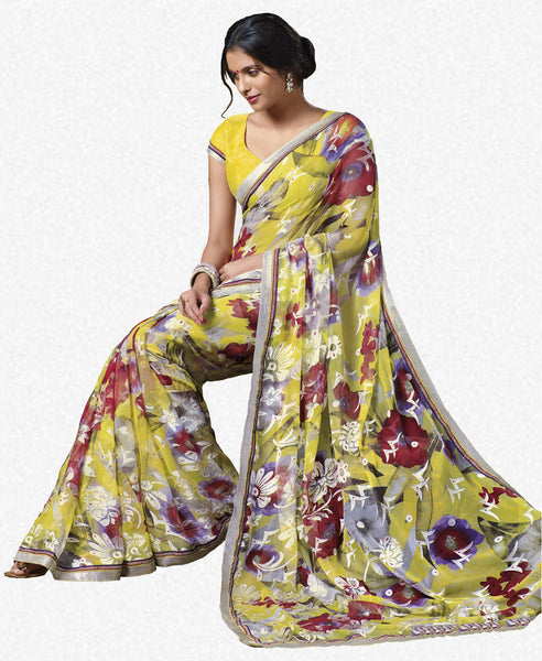 Jasmeen: Designer Printed Sarees:atisundar   Lovely Designer Printed Saree in Light Yellow  - 5136 - atisundar - 1 - click to zoom