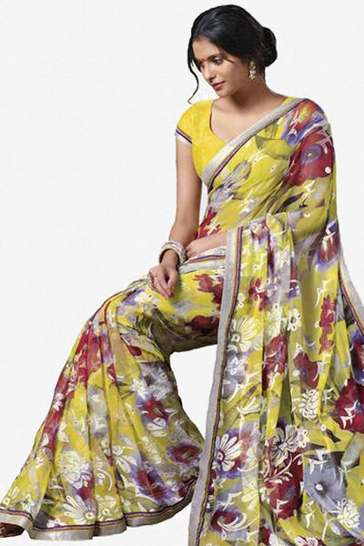 Jasmeen: Designer Printed Sarees:atisundar   Lovely Designer Printed Saree in Light Yellow  - 5136 - click to zoom