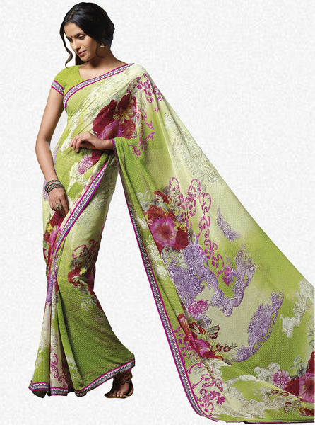 Jasmeen: Designer Printed Sarees:atisundar   wonderful Designer Printed Saree in Yellow  - 5139 - click to zoom