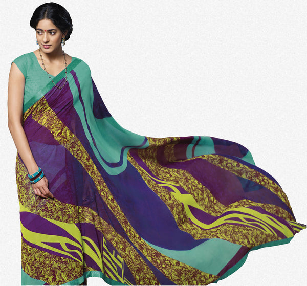 Jasmeen: Designer Printed Sarees:atisundar   gorgeous Designer Printed Saree in Blue  - 5140 - click to zoom