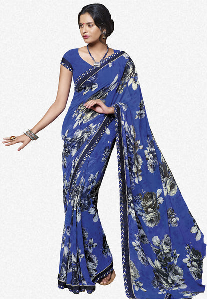 Jasmeen: Designer Printed Sarees:atisundar   charming Designer Printed Saree in Royal Blue  - 5146 - atisundar - 1 - click to zoom