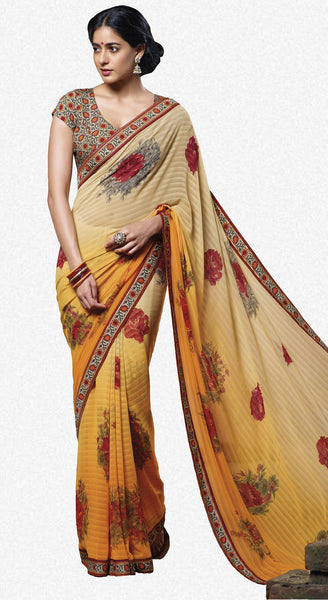 Jasmeen: Designer Printed Sarees:atisundar   splendid Designer Printed Saree in Orange  - 5151 - atisundar - 1 - click to zoom