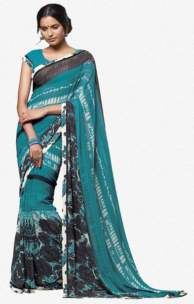 Jasmeen: Designer Printed Sarees:atisundar   superb Designer Printed Saree in Sea Green  - 5159 - atisundar - 1 - click to zoom